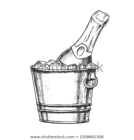Champagne Bottle In Bucketful With Ice Ink Vector Stock photo © pikepicture