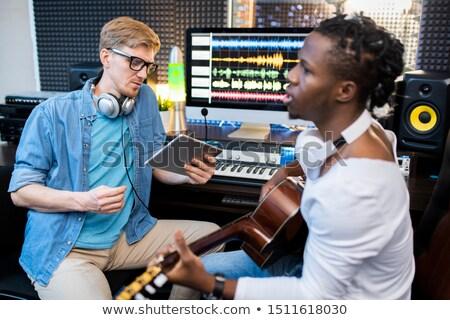 Fiatal énekes zenész afrikai nemzetiség kolléga Stock fotó © pressmaster