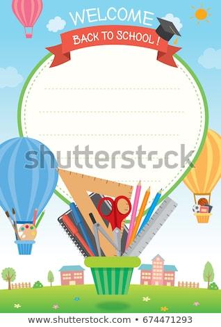 Vissza az iskolába irodaszer szett vektor színes készlet Stock fotó © robuart