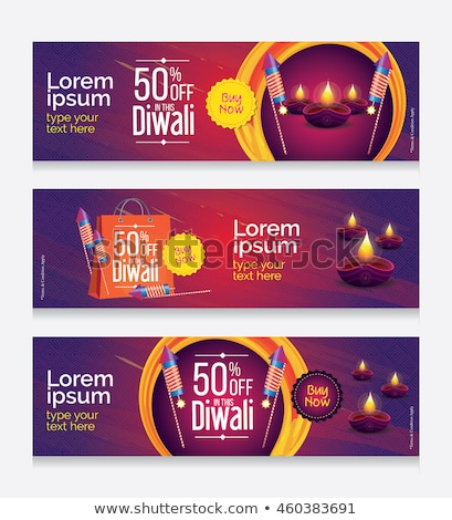attractive happy diwali festival banner with decoration Stock photo © SArts