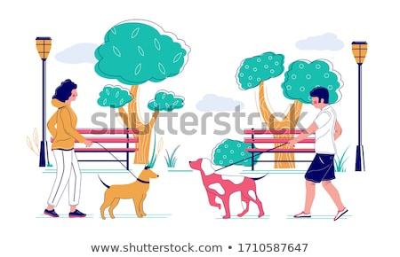 férfi · tart · kínai · kutya · kaukázusi · férfi - stock fotó © wavebreak_media