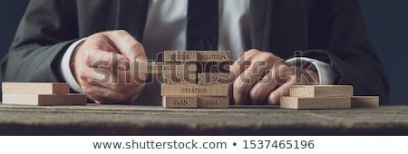 построить вверх плана бизнесмен здании радостный Сток-фото © lichtmeister