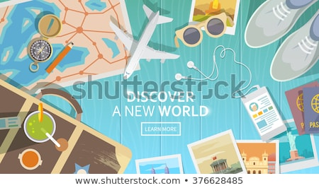 journey planning and traveling vector banner template stock photo © decorwithme