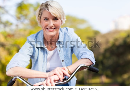 Boldog idős nő lovaglás bicikli nyár Stock fotó © dolgachov