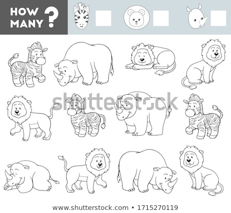 counting game with cartoon animals color book Stock photo © izakowski