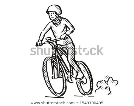 Female Cyclist Riding Electric Bicycle Cartoon Retro Drawing Stock photo © patrimonio