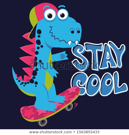 Cartoon cute monster Dinosaur, Freestyle Skate, funny dragon, little Dino drawing. Vector Stock photo © Andrei_