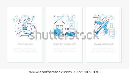 Aile hayatı hat dizayn stil afişler ayarlamak Stok fotoğraf © Decorwithme