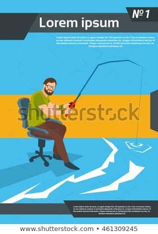 Man fishing in office Stock photo © jossdiim