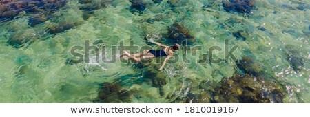 Feliz natación subacuático tropicales océano Foto stock © galitskaya