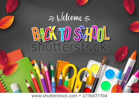 Back to school design with colorful pencil, scissors, ruler and typography letter on black chalkboar Stock photo © articular
