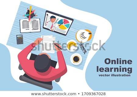 Foto stock: Online School Digital Internet Tutorials And Courses Online Education Vector Banner Template For