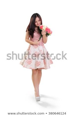 Nina rosa falda flores blanco Foto stock © bluering