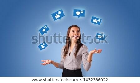 Persona medios de comunicación social símbolos jóvenes jugando negocios Foto stock © ra2studio