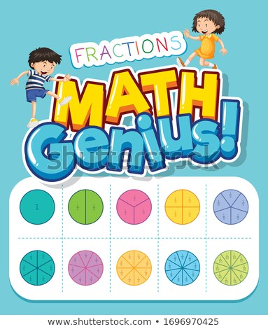 Font design for word math genius with kids and fractions Stock photo © bluering