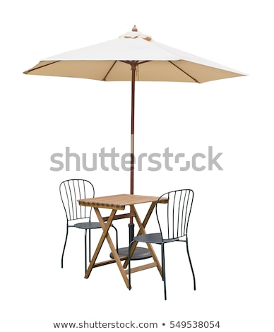 Foto stock: Furniture Table Chair Parasol