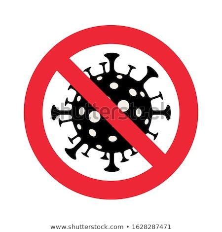 coronavirus icon with red prohibit sign stock photo © djdarkflower