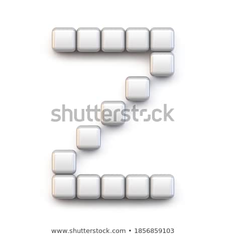 Fehér kocka pixel betűtípus z betű 3D Stock fotó © djmilic