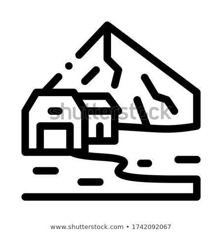 Lakóövezeti épületek felvidék ikon vektor skicc Stock fotó © pikepicture