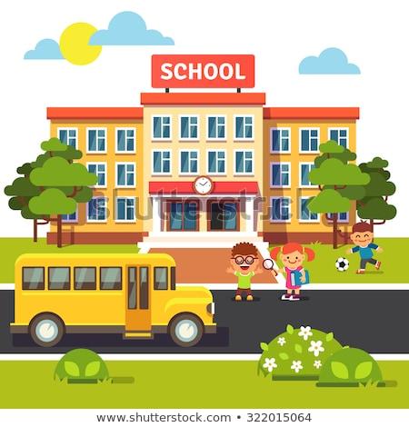 Geel bus school gebouw vector moderne Stockfoto © robuart
