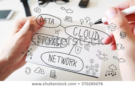 Stock photo: paper man with cloud computing bubble