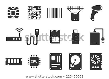 Vonalkód usb kábel számítógép kommunikáció fekete Stock fotó © adrian_n