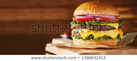 Сток-фото: чизбургер · свежие · серый · продовольствие · мяса · Салат