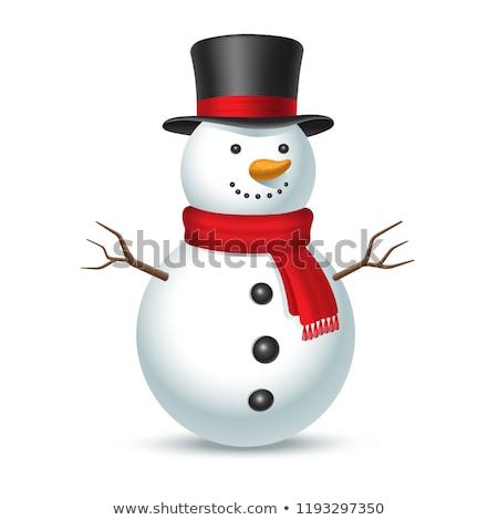 Sneeuwpop nieuwjaar briefkaart kaart Stockfoto © Lynx_aqua