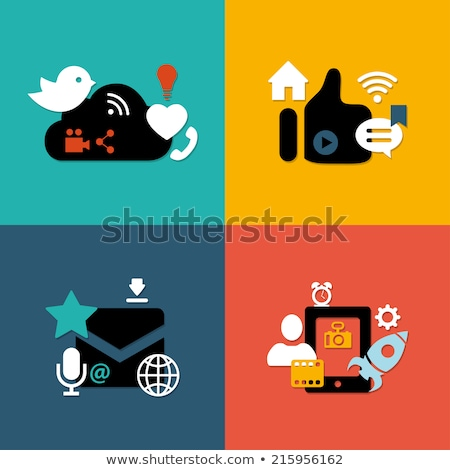 Social media icons set in bird composition Stock photo © cienpies
