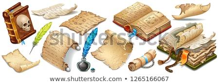 Kitaplar papirüs tüy kalem mürekkep pot Stok fotoğraf © Filata