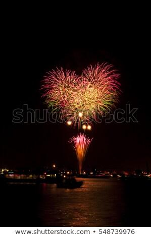 花火 黒 空 カラフル 背景 楽しい ストックフォト © dsmsoft