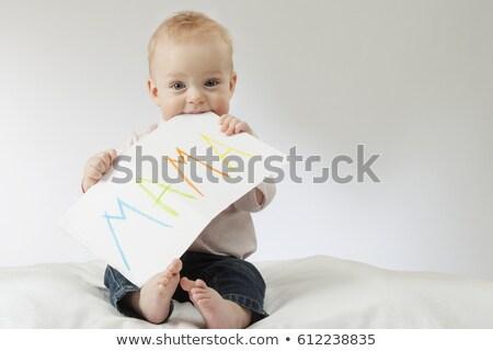 Primeiro palavras grávida mulher jovem marido plugue Foto stock © antonprado