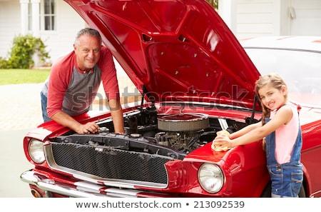 60s sixties meisjes auto vrouw sexy Stockfoto © godfer