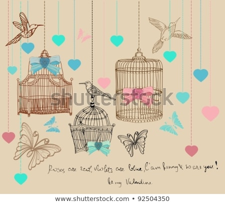 Valentine hand drawing background with birds, flowers and cage Stock photo © Elmiko