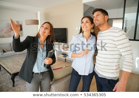 Maison femme bois maison porte costume Photo stock © photography33