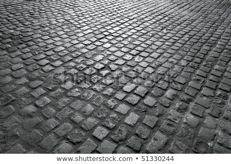 Old English cobblestone road close up in black and white. Stock photo © latent
