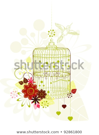 gaiola · flores · pássaro · branco · ilustração · folha - foto stock © Elmiko