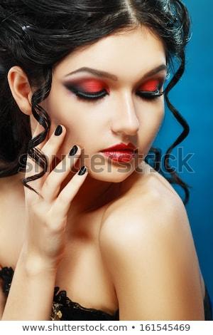 Foto stock: Senhora · retrato · jovem · morena · cinza · mulher