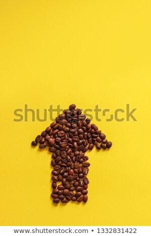 ストックフォト: 矢印 · コーヒー豆 · 孤立した · 白 · 黒 · シルエット