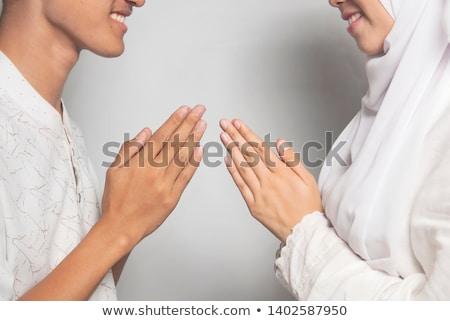мусульманских приветствие молодые женщины девушки рук Сток-фото © szefei