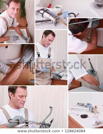 Montage of plumber repairing bathroom sink Stock photo © photography33