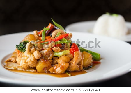 chicken stir fry with rice stock photo © fotogal