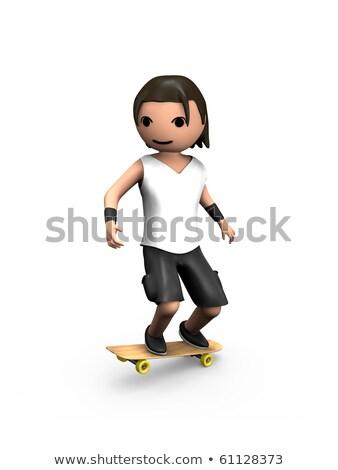 современных 3d человек скейтборде трюк Сток-фото © bobbigmac