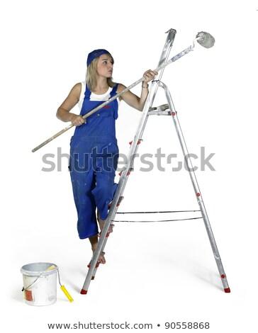 pintura · menina · estúdio · fotografia · loiro - foto stock © prill