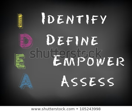 Chalk drawing of IDEA for Identify, define, empower and assess  Stock photo © bbbar
