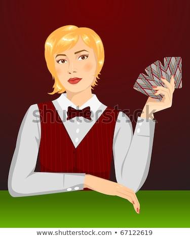かなり ブロンド 少女 ポーカー カード ファッション ストックフォト © carodi