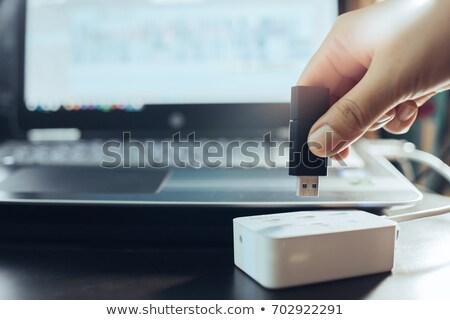 software · portátil · cd · bandeja · oficina · trabajo - foto stock © vankad