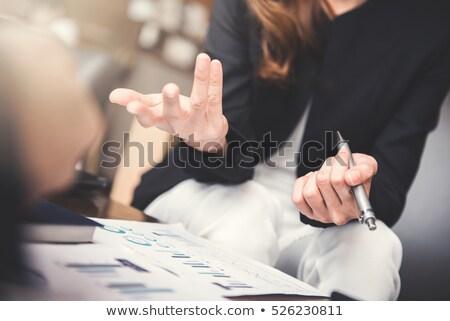 говорить стороны деловая женщина Palm смысл Сток-фото © ruigsantos