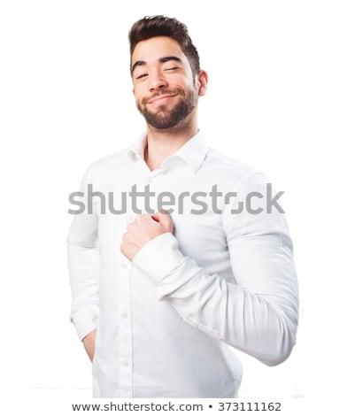 ストックフォト: 誇りに思う · 男 · 若い男 · 孤立した · 白 · 笑顔