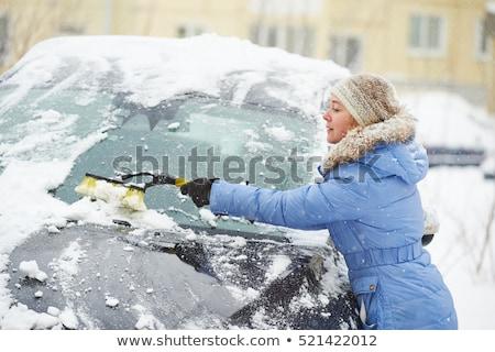 Eltávolítás hó autó idős férfi tél Stock fotó © ivonnewierink